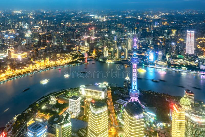Cityscape of Shanghai and Huangpu river at night royalty free stock image