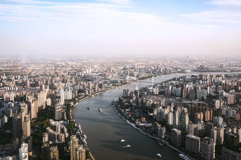 Cityscape of Shanghai and Huangpu river royalty free stock photos
