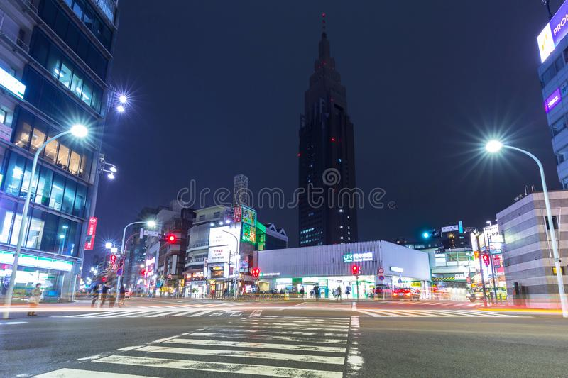 Cityscape of Shinjuku district with traffic lights on the street of Tokyo stock photo