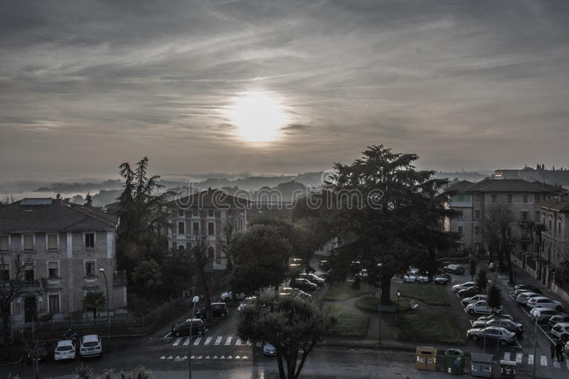 Cityscape of Siena at sunset light. Tuscany, Italy. stock photography