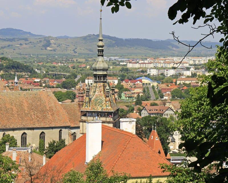 Cityscape of Sighisoara in Romania royalty free stock photo