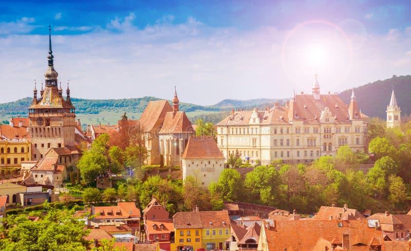Cityscape Sighisoara, Romania royalty free stock images
