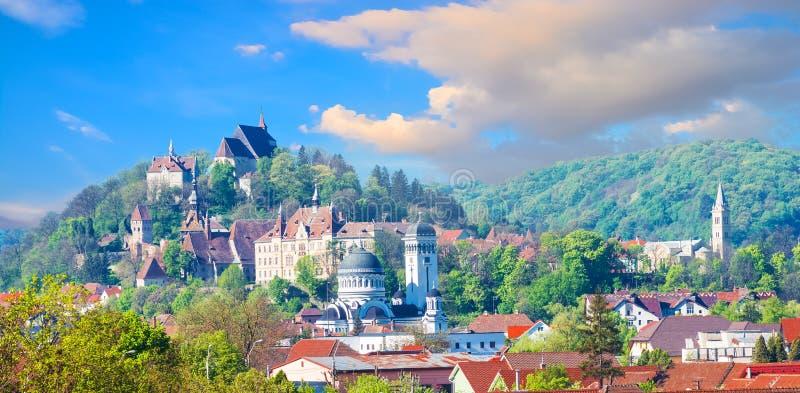 Cityscape of Sighisoara in Transylvania royalty free stock image