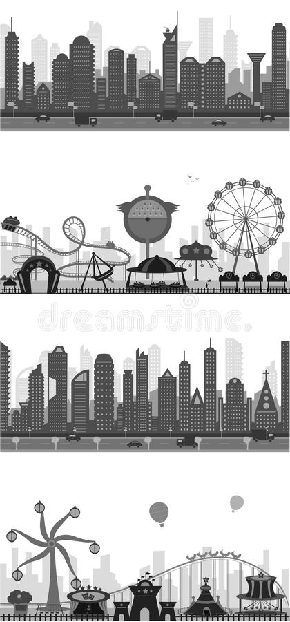 Download Cityscape Silhouette stock vector. Image of downtown - 25070109