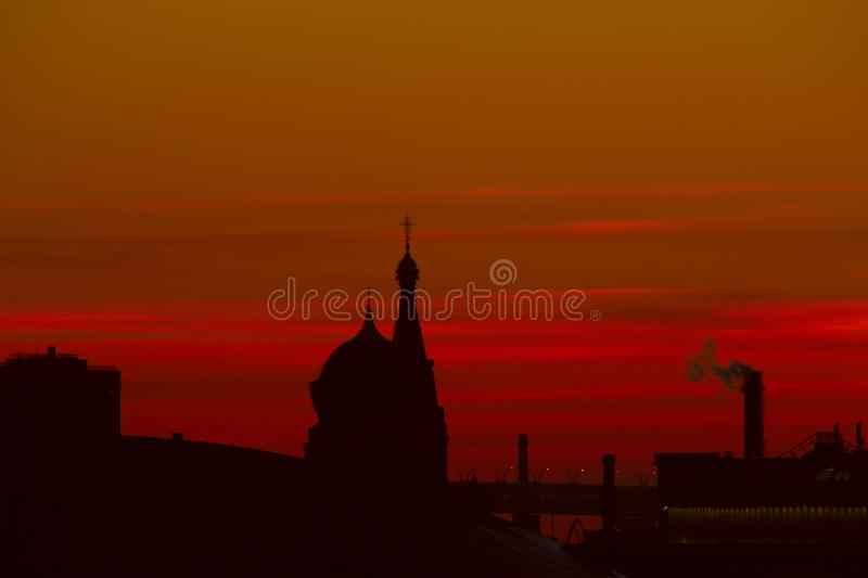 City silhouettes at sunset stock image
