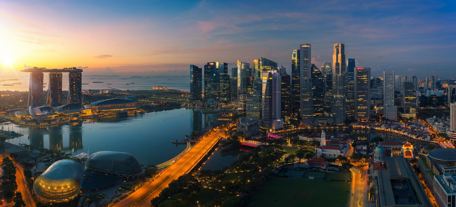 Cityscape of Singapore city stock images