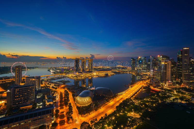 Cityscape of Singapore city sunrise stock photos