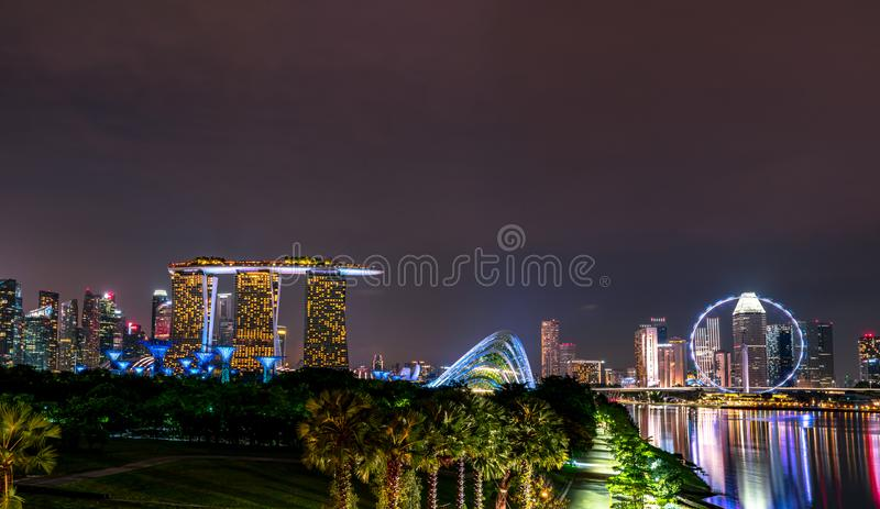Cityscape Singapore modern and financial city in Asia. Marina bay landmark of Singapore. Night landscape of business building royalty free stock images