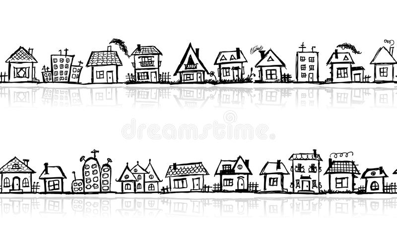 Cityscape sketch, seamless wallpaper. For your design royalty free illustration