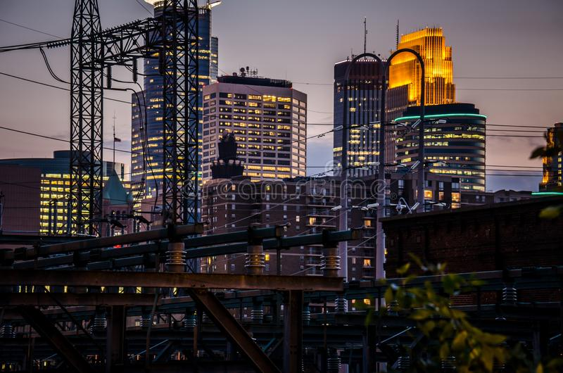 Cityscape skyline of Downtown Minneapolis Minnesota in the Twin Cities Metro area. Close up. Cityscape skyline of Downtown Minneapolis Minnesota in the Twin royalty free stock image