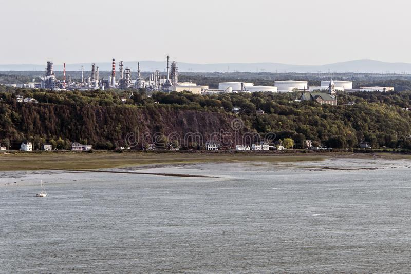 Cityscape or skyline of Saint Lawrence river with Jean Gaulin Oil Refinery from plaines d`Abraham Quebec City Canada. Cityscape or skyline of the Saint Lawrence royalty free stock images