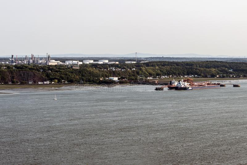 Cityscape or skyline of Saint Lawrence river with Jean Gaulin Oil Refinery from plaines d`Abraham Quebec City Canada. Cityscape or skyline of the Saint Lawrence royalty free stock photo