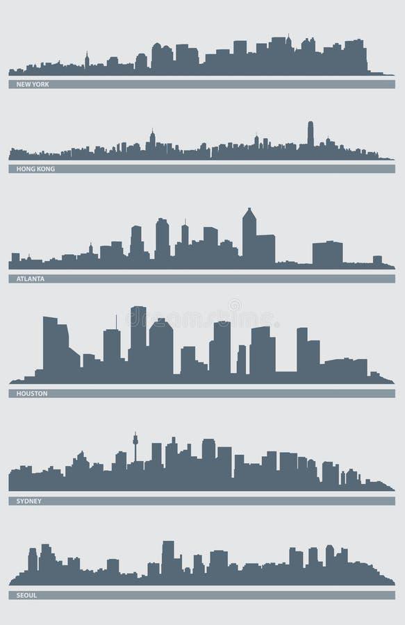 Cityscape Skyline Vector 2. A vector illustration of several cities' skylines including: New York, Hong Kong, Atlanta, Houston, Sydney and Seoul