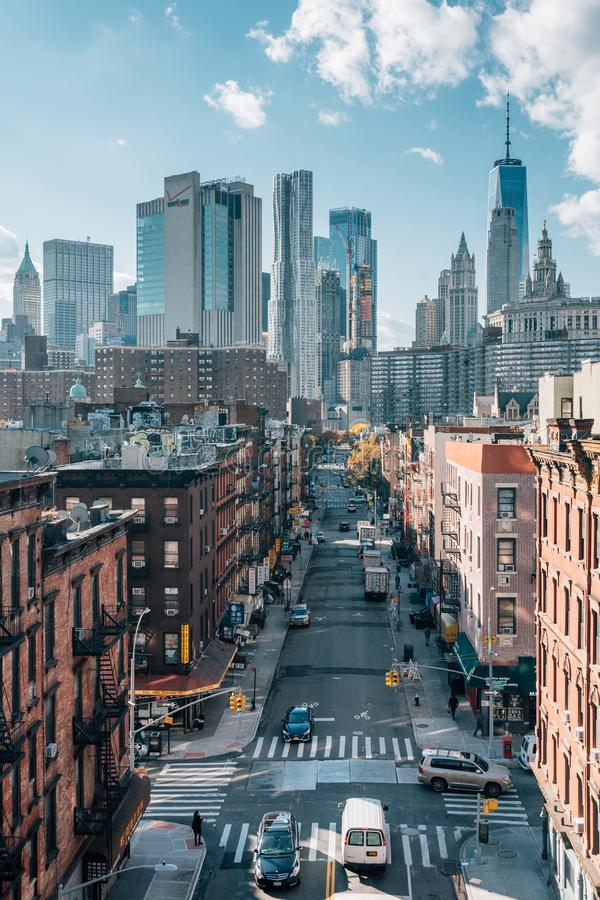 Cityscape skyline view of the Lower East Side and Financial District, from the Manhattan Bridge in New York City royalty free stock photography