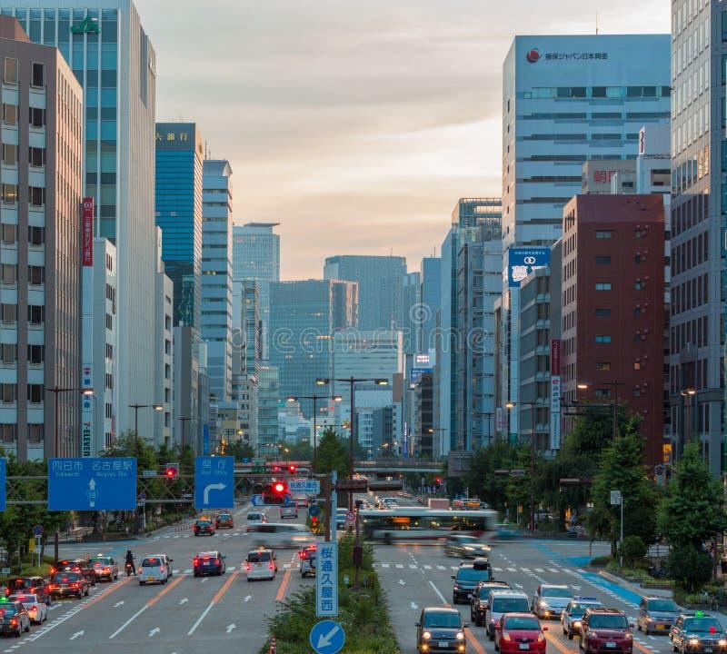 Cityscape and skyscraper at dusk in sakae,nagoya, japan. Cityscape and skyscraper at dusk in sakae,nagoya city - japan royalty free stock photos