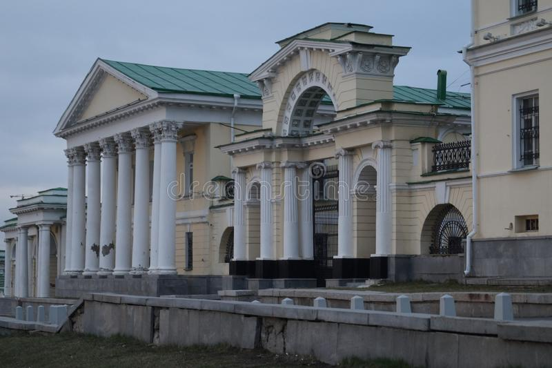 cityscape Slott komplexa Kharitonov, en arkitektonisk monument av det 18th århundradet arkivfoto