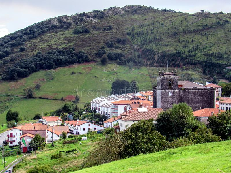 Cityscape of the small town of Markina, Basque Country, pilgrimage route Saint James Way, Northern coast of Spain. Cityscape of the small town of Markina, Pais stock photo