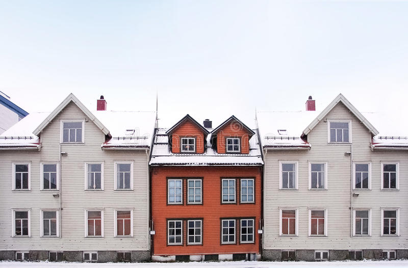 Cityscape of small town street with wooden houses, royalty free stock photography