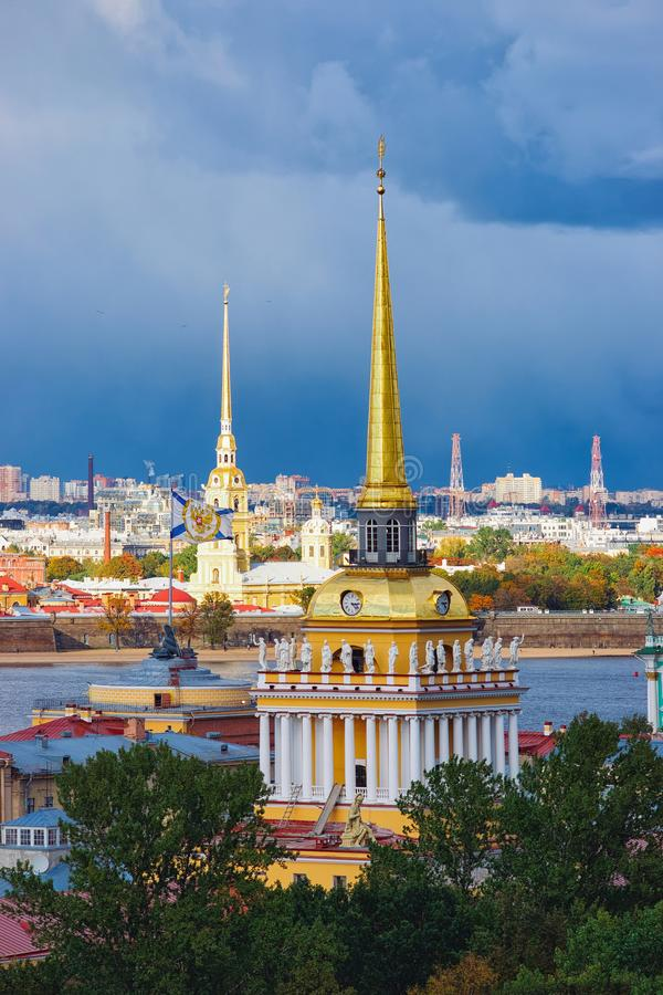 Cityscape with Spire Admiralty Building in Saint Petersburg, Russia royalty free stock image