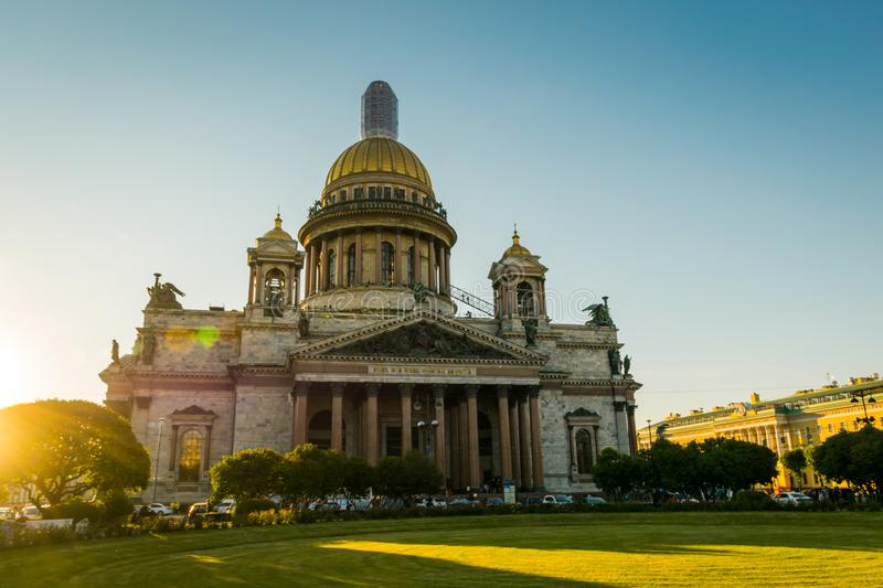 St. Isaac Cathedral in Saint-Petersburg, Russia. The cityscape of St. Isaac Cathedral in Saint-Petersburg, Russia. In the sunset time royalty free stock image