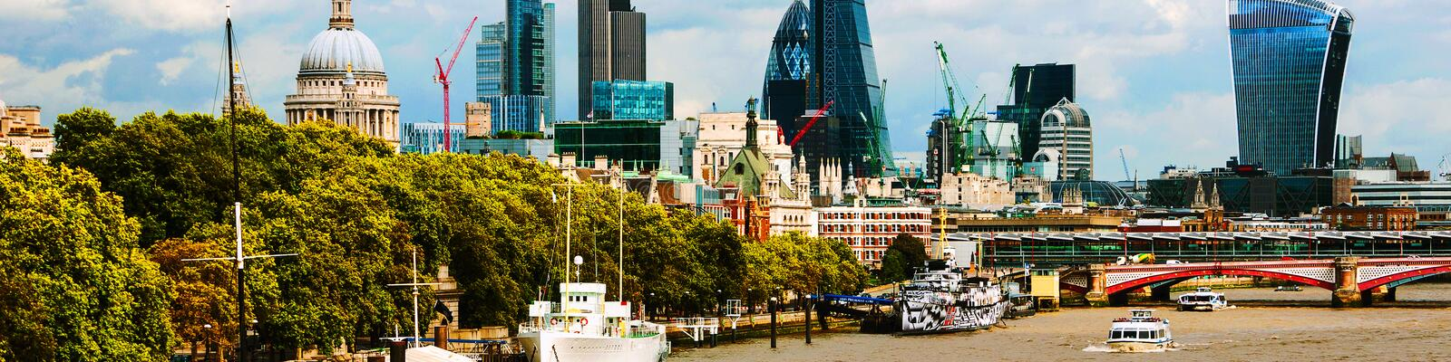 Cityscape with St Paul Cathedral and modern buildings of London City, UK stock images