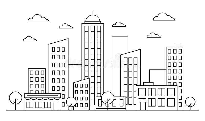 Cityscape, stads- landskaphorisontbegrepp med byggnader, scyscrapers, träd och moln Vektoroutiline Redigerbar slaglängd vektor illustrationer