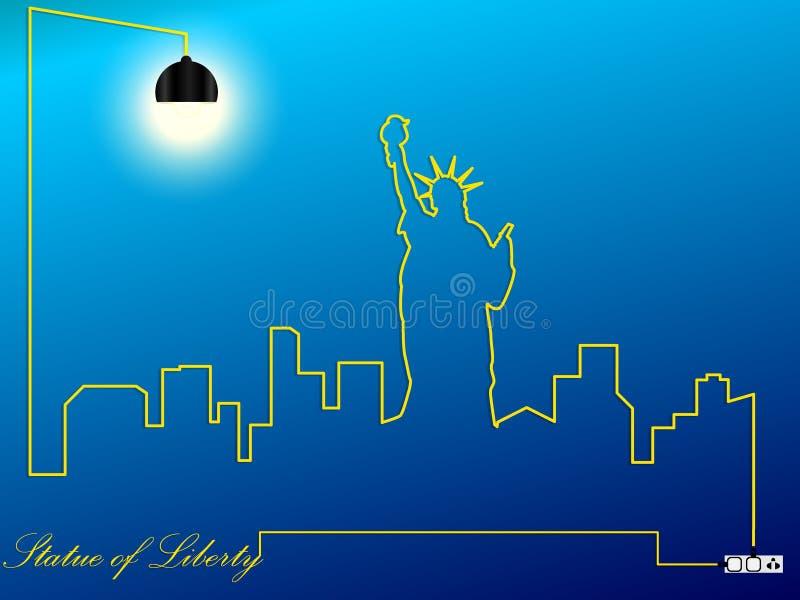 Cityscape Statue of Liberty USA royalty free illustration