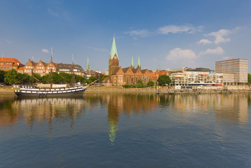 Cityscape of summer Bremen. Over the Rhein river stock image