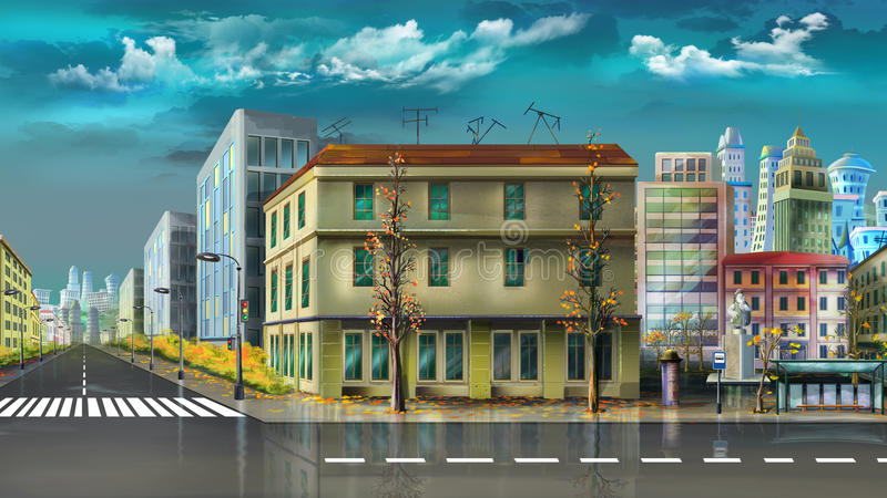 Cityscape after summer rain. Digital painting of the Cityscape after summer rain royalty free stock image