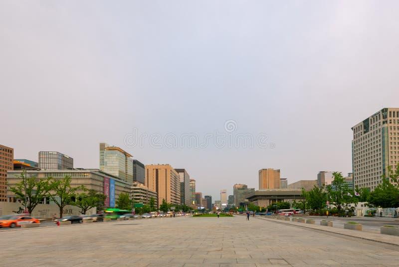 Cityscape at sunset from the Sejongno, Gwanghwamun Plaza in Seoul, South Korea royalty free stock photo