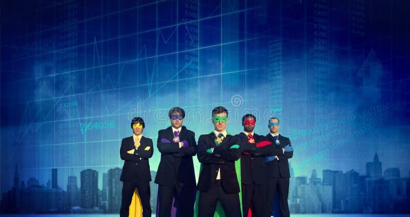 Cityscape Superhero van de Bedrijfsmensensterkte Conc Beurs royalty-vrije stock afbeeldingen