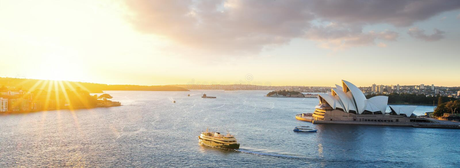 Cityscape of Sysney harbour with morning sunrise moment and boat. In the sea, New south wales, Australia, this immage can use for travel, trorist and Sysney stock photos