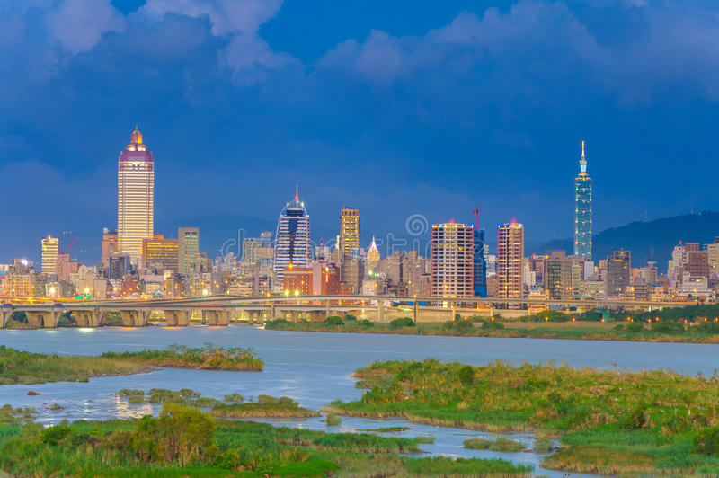 Cityscape of Taipei city in Taiwan. Skyline of Taipei city under dramatic sky before the typhoon stock images