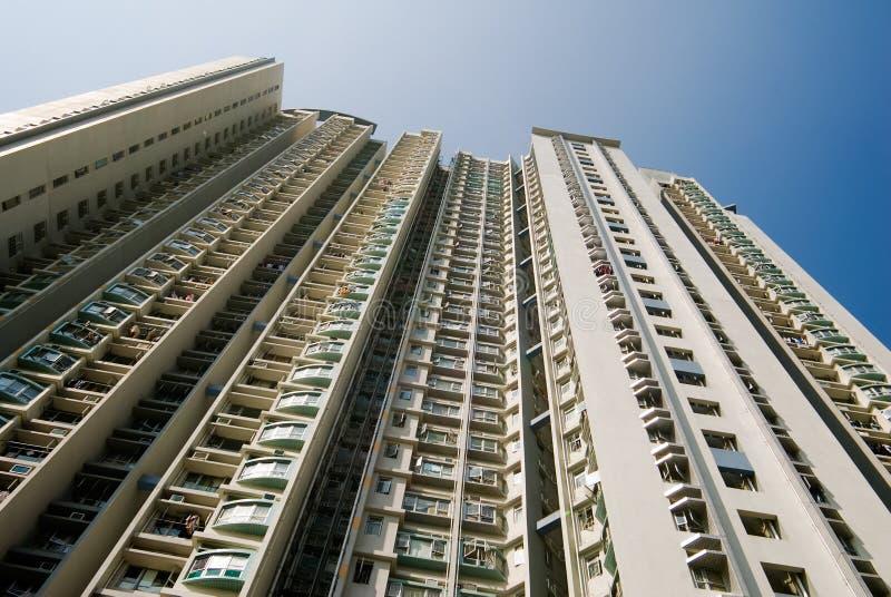 Cityscape of tall white apartment exterior royalty free stock photos