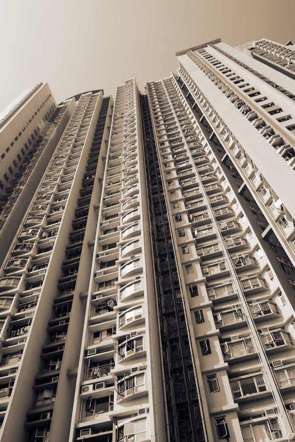 Cityscape of tall white apartment exterior stock photo