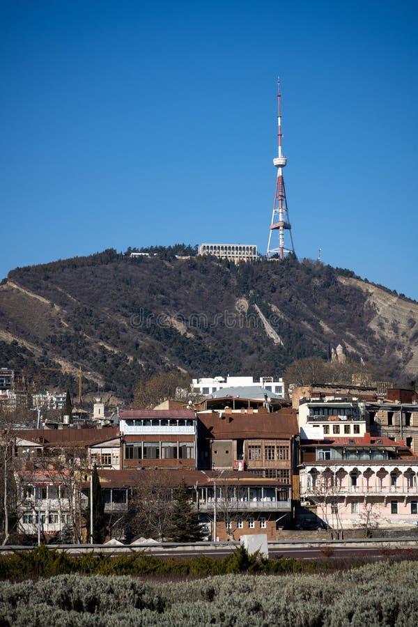 Cityscape of Tbilisi, capital city of Georgia. Tbilisi, Georgia - Mar 4, 2019: View of Tbilisi city in the morning royalty free stock photo