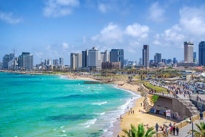 Cityscape of Tel Aviv, Israel. Tel Aviv, Israel - May 3, 2019. View of Tel Aviv coastline , Israel stock photos