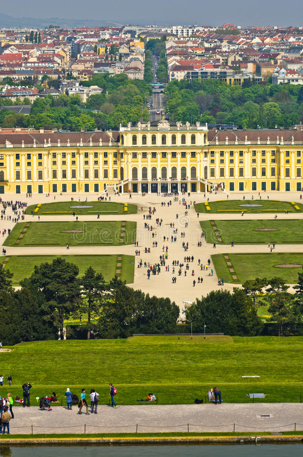 Cityscape telephoto view of Vienna from Gloriette at Schoenbrunn palace stock photos