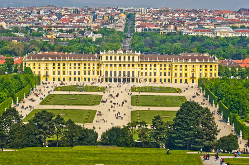 Cityscape telephoto view of Vienna from Gloriette at Schoenbrunn palace royalty free stock photography