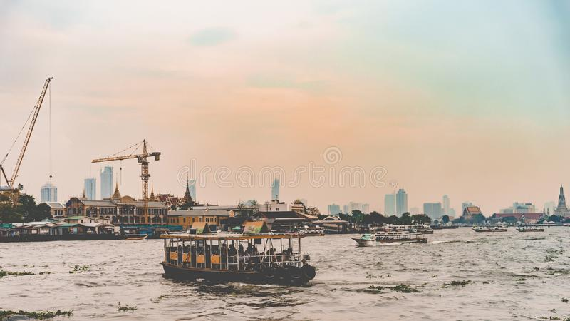 Cityscape of thai river in the morning stock photo