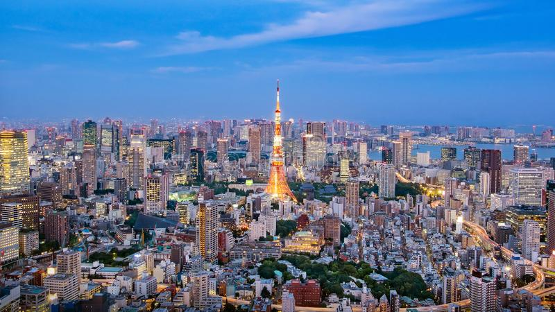Cityscape of Tokyo skyline, panorama aerial skyscrapers view of office building and downtown. royalty free stock photos