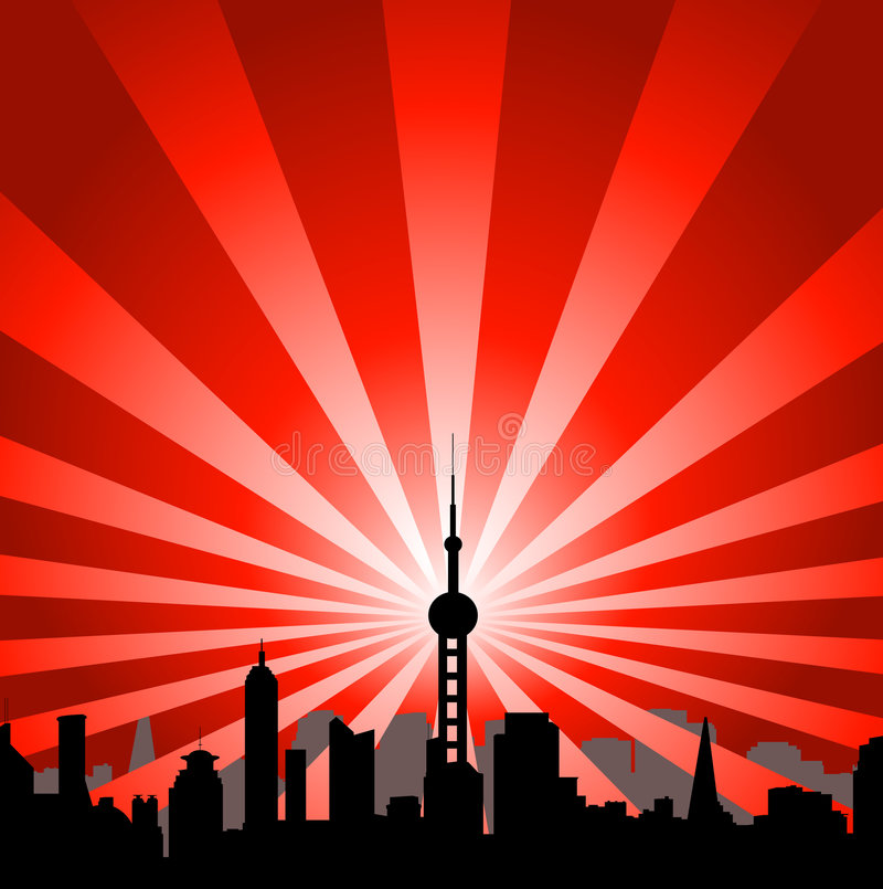 Cityscape with tower. Spreading rays of lights vector illustration
