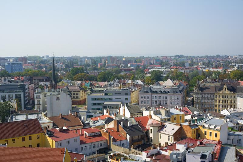 Cityscape. Of town and city from top view. Old and modern architecture of different styles. Authentic urbanism stock photography