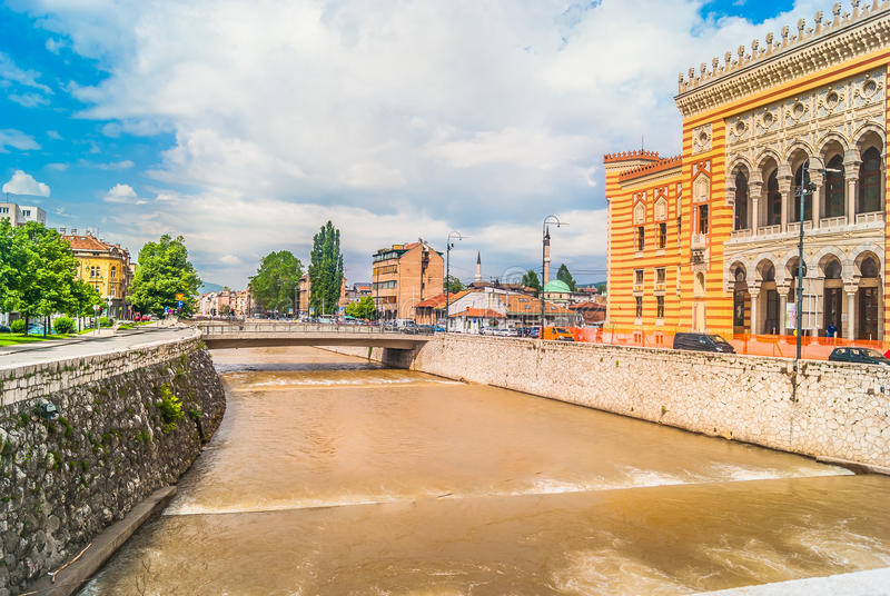 Cityscape of town Sarajevo, Europe. stock images