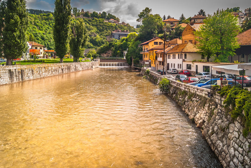 Cityscape of town Sarajevo. stock photography