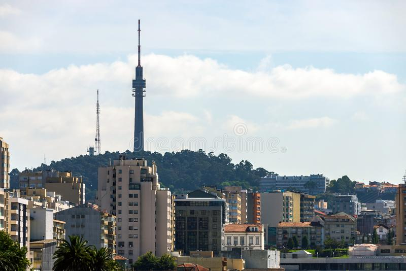 Cityscape with TV tower in Porto, Portugal. Architecture, building, portuguese, roof, town, travel, view, aerial, apartment, buildings, line, communication royalty free stock photos