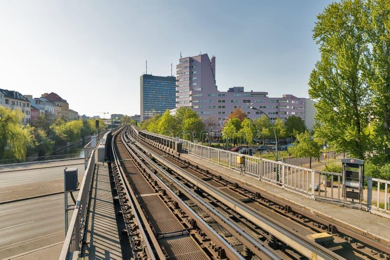 Cityscape with U-Bahn railway in Berlin, Germany royalty free stock photo
