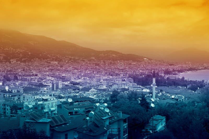 Cityscape van Alanya stock afbeelding