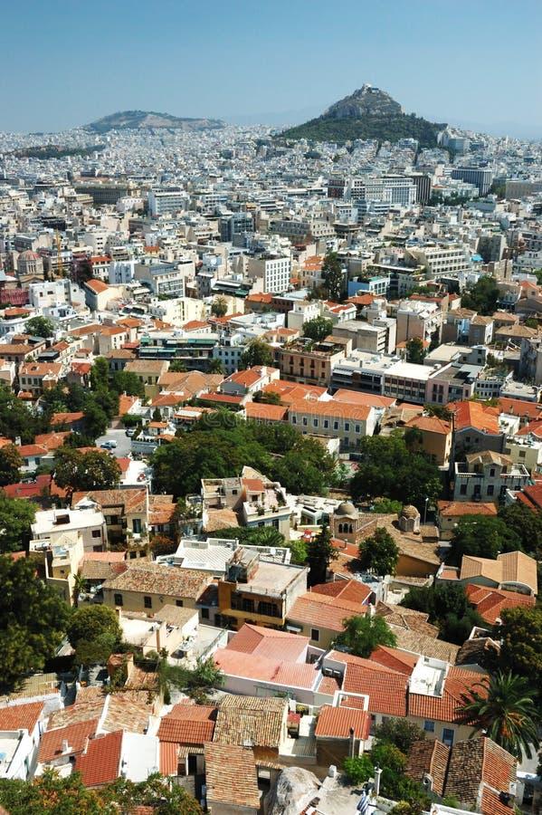 Cityscape van Athene van de heuvel van de Akropolis, Griekenland stock foto