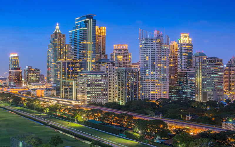 Cityscape van Bangkok Thailand stock afbeelding